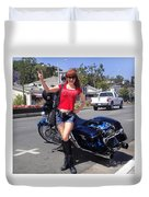 Biker Girl. Model Sofia Metal Queen Duvet Cover