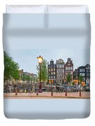 Bikes And Houses Along Canal At Dusk Duvet Cover