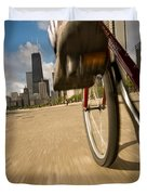 Biking Chicagos Lakefront Duvet Cover