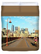 Biking On The Stone Arch Bridge Duvet Cover