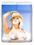 Bikini Lady Against Blue Sky Background Duvet Cover