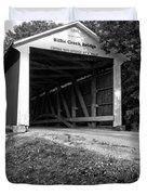 Billie Creek Covered Bridge Black And White Duvet Cover