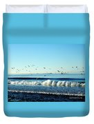 Billowing White Waves And Seagulls Duvet Cover