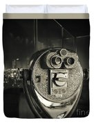Binocular In New York City, Image In Grunge And Retro Style. Duvet Cover