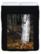 Birch Autumn 3 Duvet Cover by Ron Day