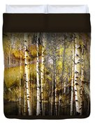 Birch Bark And Trees Abstract Duvet Cover