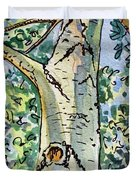 Birch Tree Sketchbook Project Down My Street Duvet Cover by Irina Sztukowski