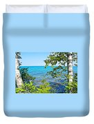 Birch Trees Above Lake Superior Off North Country Trail In Pictured Rocks National Lakeshore-mi Duvet Cover
