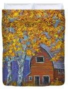 Birch Trees And Barn Duvet Cover