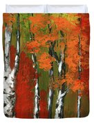 Birch Trees In An Autumn Forest Duvet Cover