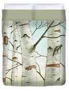Birch Trees In Late Autumn Duvet Cover