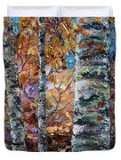 Birch Trees Oil Painting With Palette Knife  Duvet Cover