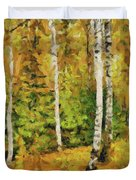 Birches And Spruces Duvet Cover