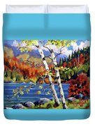 Birches By The Lake Duvet Cover