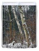 Birches During A Snowfall Duvet Cover