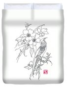 Bird And Flowers Duvet Cover