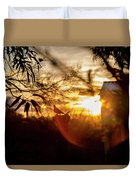 Bird At Sunset Color Duvet Cover