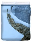 Bird Bath In The Snow Duvet Cover