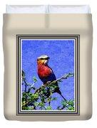 Bird Beauty - No 7 P B With Decorative Ornate Printed Frame. Duvet Cover