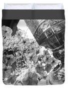 Bird Feeder And Flowers Duvet Cover