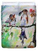 Bird Feeding Baby Watercolor Duvet Cover