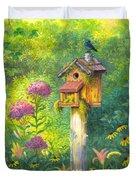 Bird House And Bluebird  Duvet Cover