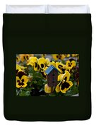 Bird House And Pansies Duvet Cover