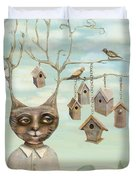Bird Houses Duvet Cover