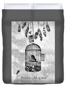 Bird In A Cage-black Duvet Cover
