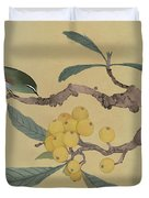 Bird In Loquat Tree Duvet Cover