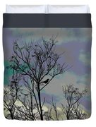 Bird In Tree Silhouette Iv Abstract Duvet Cover