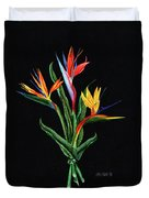 Bird Of Paradise In Black Duvet Cover
