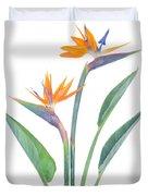 Bird Of Paradize Flowers Duvet Cover