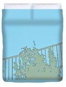 Bird On Fence Aqua II Duvet Cover