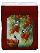 Bird Painting - Apple Harvest Chickadees Duvet Cover by Crista Forest
