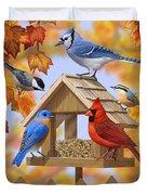 Bird Painting - Autumn Aquaintances Duvet Cover by Crista Forest