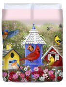 Bird Painting - Primary Colors Duvet Cover by Crista Forest