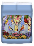 Bird Painting - Spring Garden Party Duvet Cover by Crista Forest