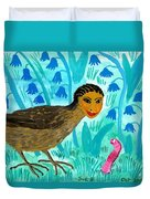 Bird People Blackbird And Worm Duvet Cover
