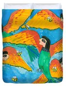 Bird People Little Green Bee Eaters Of Upper Egypt Duvet Cover