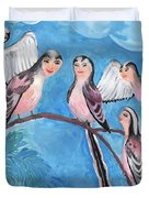 Bird People Long Tailed Tits Duvet Cover