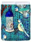 Bird People The Bluetit Family Duvet Cover by Sushila Burgess