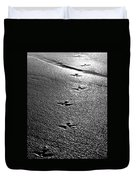 Bird Prints In The Sand Black And White Duvet Cover