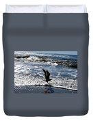Bird Taking Flight On The Shore Duvet Cover