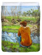 Bird Watching By The Creek Duvet Cover
