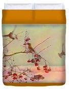Bird Waxwing Duvet Cover