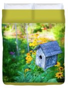 Birdhouse And Flowers Duvet Cover