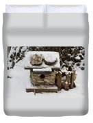 Birdhouse In The Snow Duvet Cover