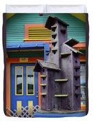 Birdhouses For Colorful Birds 2 Duvet Cover