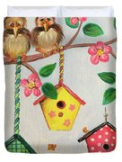 Birds And Birdhouse Duvet Cover